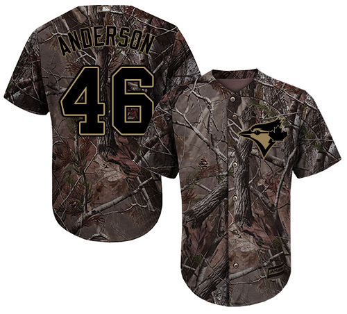 Men's Majestic Toronto Blue Jays #46 Brett Anderson Authentic Camo Realtree Collection Flex Base MLB Jersey