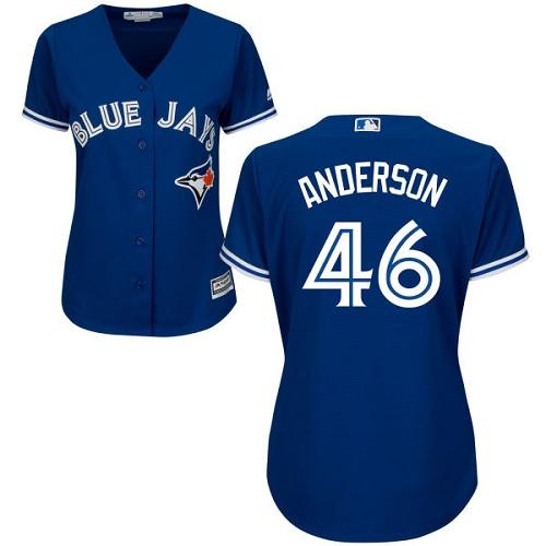 Women's Majestic Toronto Blue Jays #46 Brett Anderson Authentic Blue Alternate MLB Jersey