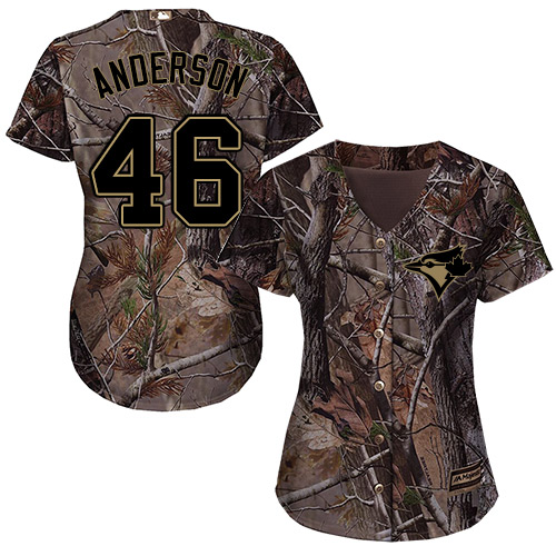 Women's Majestic Toronto Blue Jays #46 Brett Anderson Authentic Camo Realtree Collection Flex Base MLB Jersey