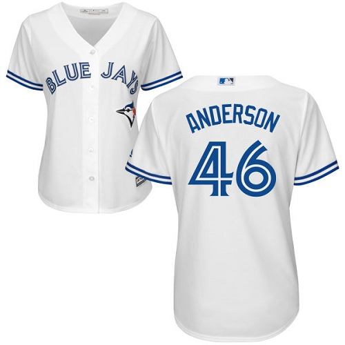 Women's Majestic Toronto Blue Jays #46 Brett Anderson Authentic White Home MLB Jersey