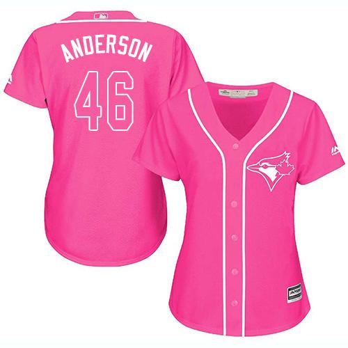 Women's Majestic Toronto Blue Jays #46 Brett Anderson Replica Pink Fashion Cool Base MLB Jersey