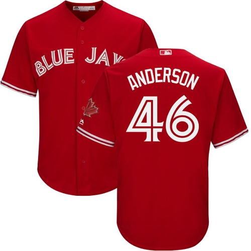 Youth Majestic Toronto Blue Jays #46 Brett Anderson Authentic Scarlet Alternate MLB Jersey