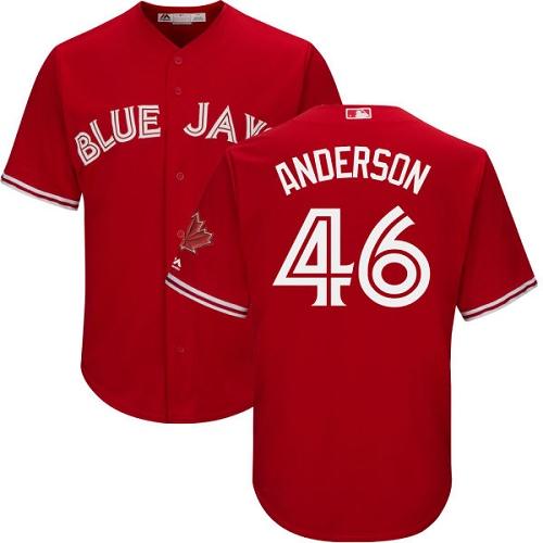 Youth Majestic Toronto Blue Jays #46 Brett Anderson Replica Scarlet Alternate MLB Jersey