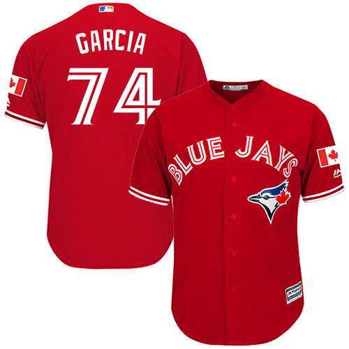 Men's Majestic Toronto Blue Jays #74 Jaime Garcia Replica Scarlet Alternate Cool Base MLB Jersey