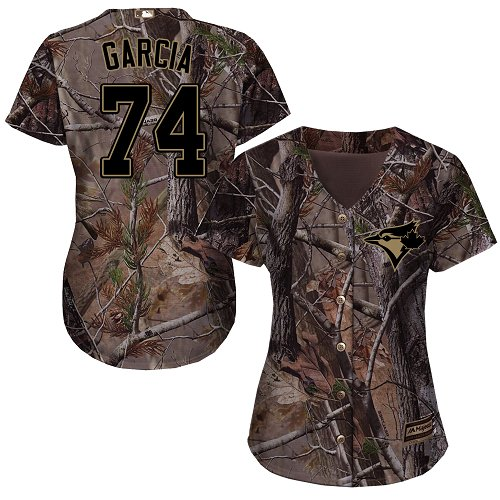 Women's Majestic Toronto Blue Jays #74 Jaime Garcia Authentic Camo Realtree Collection Flex Base MLB Jersey