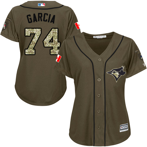 Women's Majestic Toronto Blue Jays #74 Jaime Garcia Authentic Green Salute to Service MLB Jersey