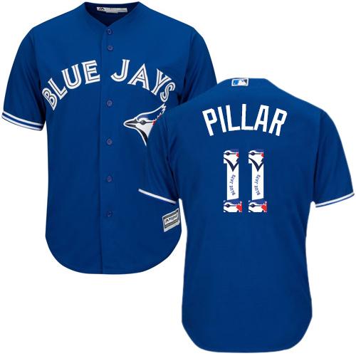Men's Majestic Toronto Blue Jays #11 Kevin Pillar Authentic Blue Team Logo Fashion MLB Jersey