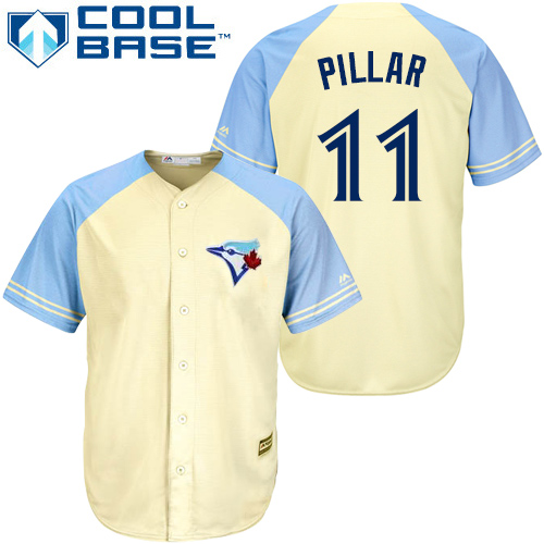Men's Majestic Toronto Blue Jays #11 Kevin Pillar Authentic Cream Exclusive Vintage Cool Base MLB Jersey