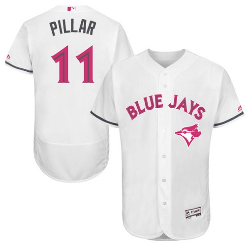 Men's Majestic Toronto Blue Jays #11 Kevin Pillar Authentic White 2016 Mother's Day Fashion Flex Base MLB Jersey