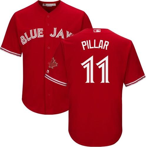Men's Majestic Toronto Blue Jays #11 Kevin Pillar Replica Scarlet Alternate Cool Base MLB Jersey