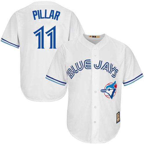 Men's Majestic Toronto Blue Jays #11 Kevin Pillar Replica White Cooperstown MLB Jersey