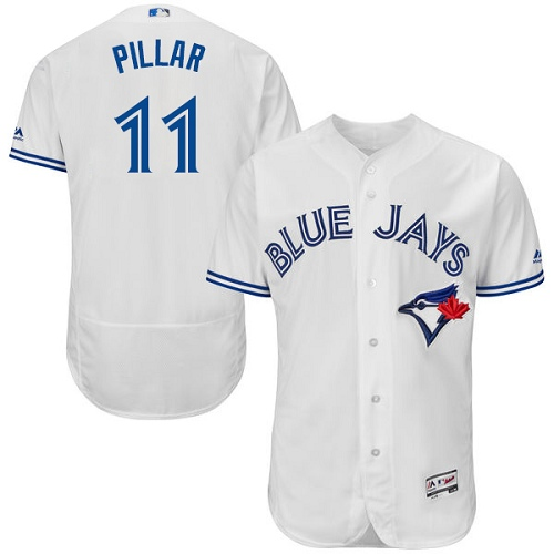 Men's Majestic Toronto Blue Jays #11 Kevin Pillar White Home Flex Base Authentic Collection MLB Jersey