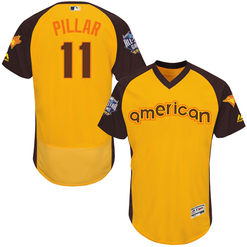 Men's Majestic Toronto Blue Jays #11 Kevin Pillar Yellow 2016 All-Star American League BP Authentic Collection Flex Base MLB Jersey