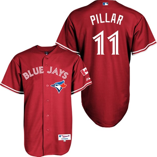 Women's Majestic Toronto Blue Jays #11 Kevin Pillar Authentic Red Canada Day MLB Jersey