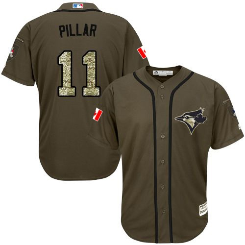 Youth Majestic Toronto Blue Jays #11 Kevin Pillar Authentic Green Salute to Service MLB Jersey