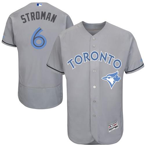 Men's Majestic Toronto Blue Jays #6 Marcus Stroman Authentic Gray 2016 Father's Day Fashion Flex Base MLB Jersey