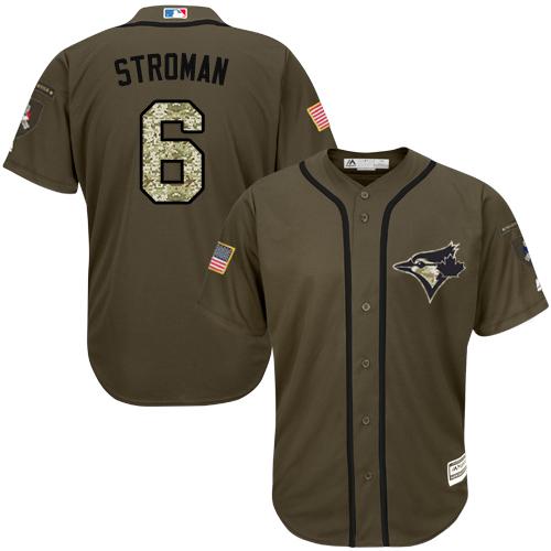 Men's Majestic Toronto Blue Jays #6 Marcus Stroman Authentic Green Salute to Service MLB Jersey