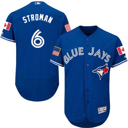 Men's Majestic Toronto Blue Jays #6 Marcus Stroman Authentic Royal Blue Fashion Stars & Stripes Flex Base MLB Jersey
