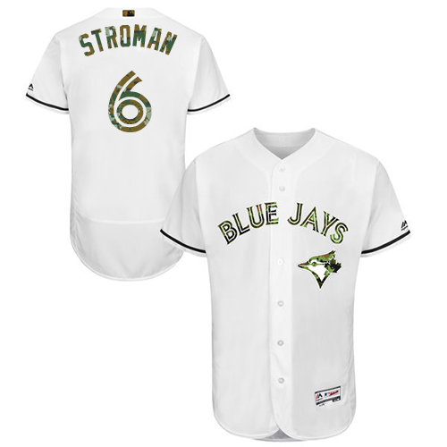 Men's Majestic Toronto Blue Jays #6 Marcus Stroman Authentic White 2016 Memorial Day Fashion Flex Base MLB Jersey