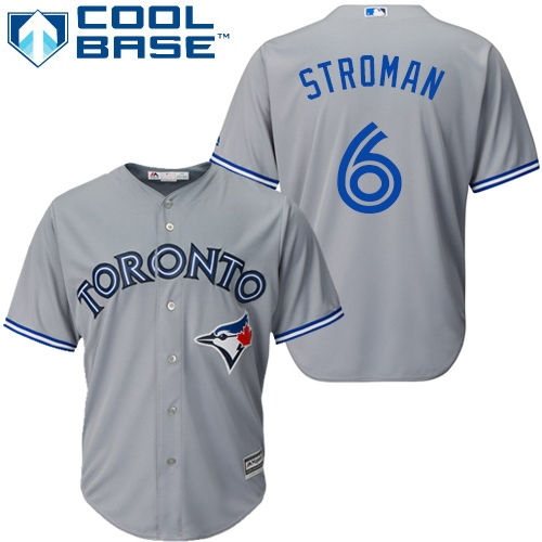 Men's Majestic Toronto Blue Jays #6 Marcus Stroman Replica Grey Road MLB Jersey