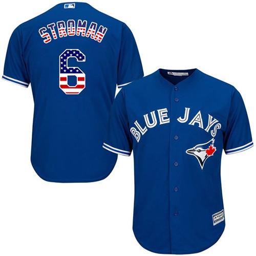 Men's Majestic Toronto Blue Jays #6 Marcus Stroman Replica Royal Blue USA Flag Fashion MLB Jersey