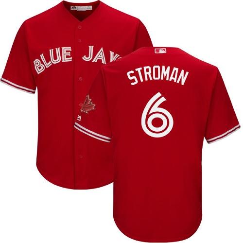 Men's Majestic Toronto Blue Jays #6 Marcus Stroman Replica Scarlet Alternate Cool Base MLB Jersey