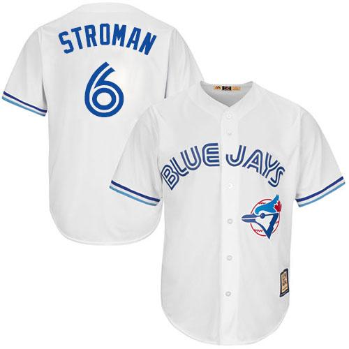 Men's Majestic Toronto Blue Jays #6 Marcus Stroman Replica White Cooperstown MLB Jersey