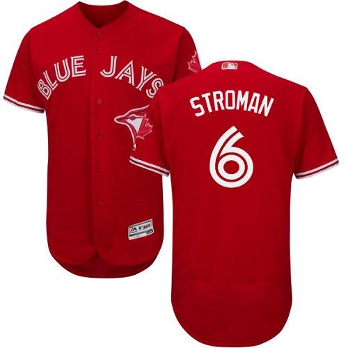 Men's Majestic Toronto Blue Jays #6 Marcus Stroman Scarlet Flexbase Authentic Collection Alternate MLB Jersey
