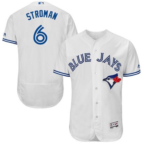 Men's Majestic Toronto Blue Jays #6 Marcus Stroman White Home Flex Base Authentic Collection MLB Jersey