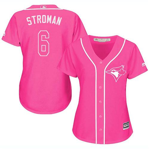 Women's Majestic Toronto Blue Jays #6 Marcus Stroman Authentic Pink Fashion Cool Base MLB Jersey