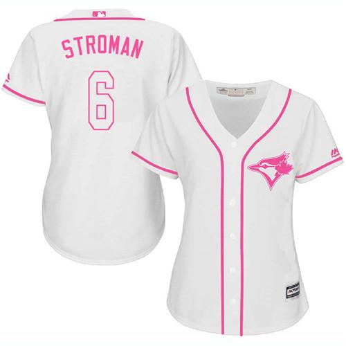 Women's Majestic Toronto Blue Jays #6 Marcus Stroman Authentic White Fashion Cool Base MLB Jersey