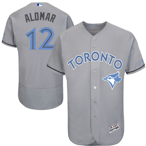 Men's Majestic Toronto Blue Jays #12 Roberto Alomar Authentic Gray 2016 Father's Day Fashion Flex Base MLB Jersey