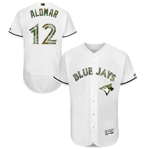 Men's Majestic Toronto Blue Jays #12 Roberto Alomar Authentic White 2016 Memorial Day Fashion Flex Base MLB Jersey