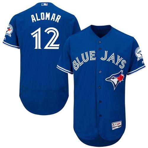 Men's Majestic Toronto Blue Jays #12 Roberto Alomar Blue Alternate Flex Base Authentic Collection MLB Jersey