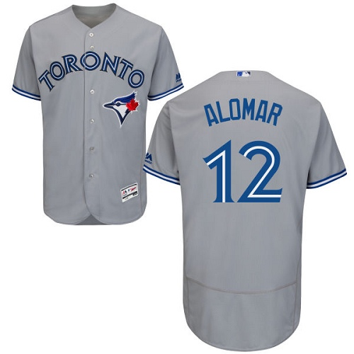 Men's Majestic Toronto Blue Jays #12 Roberto Alomar Grey Road Flex Base Authentic Collection MLB Jersey