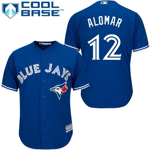 Men's Majestic Toronto Blue Jays #12 Roberto Alomar Replica Blue Alternate MLB Jersey