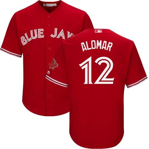 Men's Majestic Toronto Blue Jays #12 Roberto Alomar Replica Scarlet Alternate Cool Base MLB Jersey