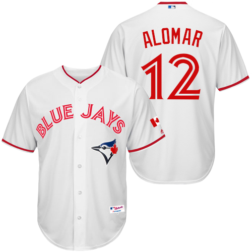 Men's Majestic Toronto Blue Jays #12 Roberto Alomar Replica White 2015 Canada Day MLB Jersey