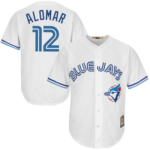 Men's Majestic Toronto Blue Jays #12 Roberto Alomar Replica White Cooperstown MLB Jersey