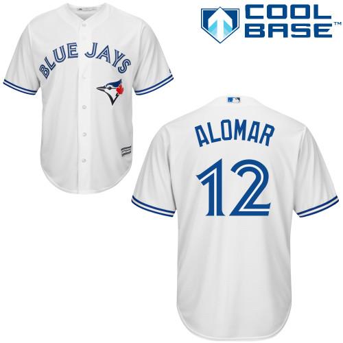 Men's Majestic Toronto Blue Jays #12 Roberto Alomar Replica White Home MLB Jersey