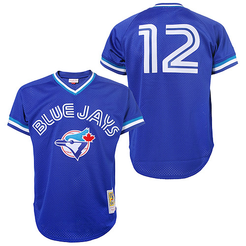 Men's Mitchell and Ness Toronto Blue Jays #12 Roberto Alomar Authentic Blue 1993 Throwback MLB Jersey
