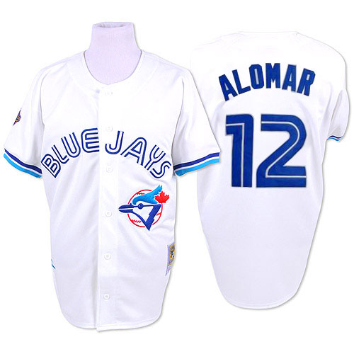 Men's Mitchell and Ness Toronto Blue Jays #12 Roberto Alomar Replica White 1993 Throwback MLB Jersey