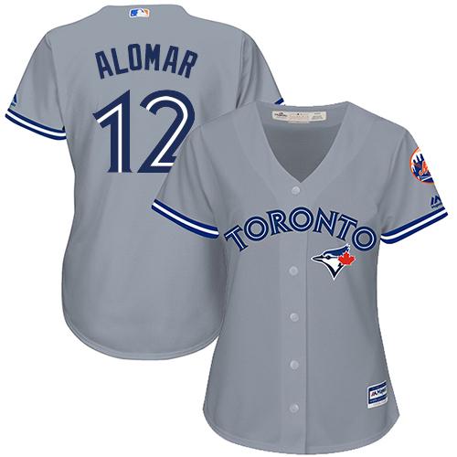Women's Majestic Toronto Blue Jays #12 Roberto Alomar Replica Grey Road MLB Jersey