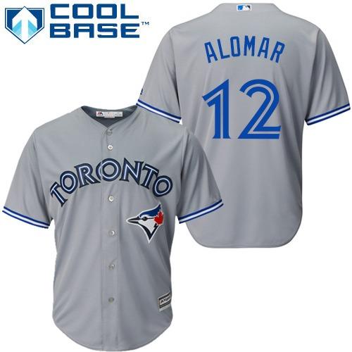 Youth Majestic Toronto Blue Jays #12 Roberto Alomar Replica Grey Road MLB Jersey