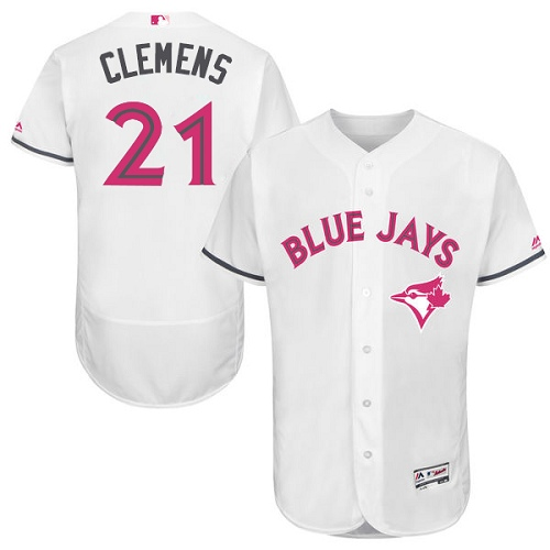 Men's Majestic Toronto Blue Jays #21 Roger Clemens Authentic White 2016 Mother's Day Fashion Flex Base MLB Jersey