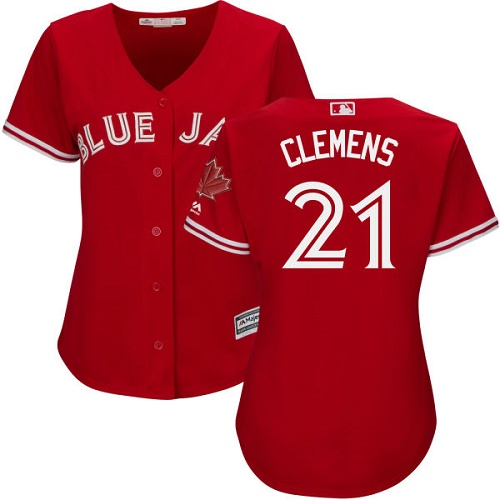 Women's Majestic Toronto Blue Jays #21 Roger Clemens Authentic Scarlet Alternate MLB Jersey