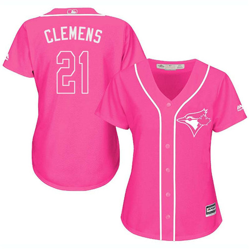 Women's Majestic Toronto Blue Jays #21 Roger Clemens Replica Pink Fashion Cool Base MLB Jersey