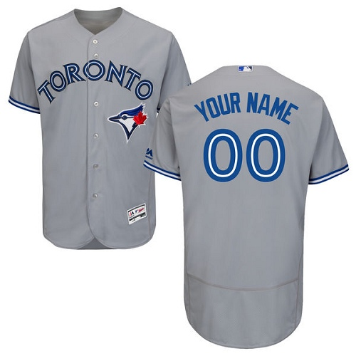 Men's Majestic Toronto Blue Jays Customized Grey Road Flex Base Authentic Collection MLB Jersey