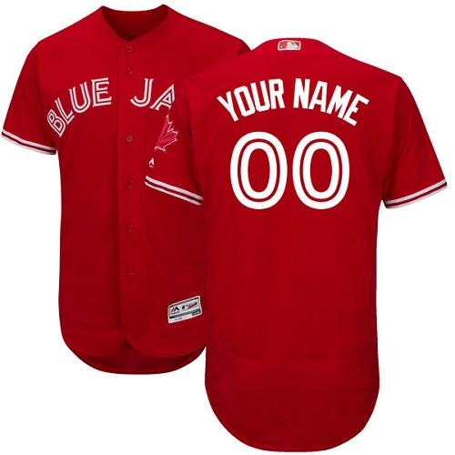 Men's Majestic Toronto Blue Jays Customized Scarlet Flexbase Authentic Collection Alternate MLB Jersey