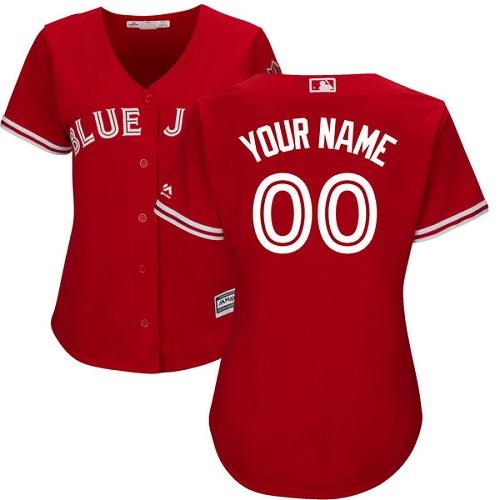 Women's Majestic Toronto Blue Jays Customized Replica Scarlet Alternate MLB Jersey